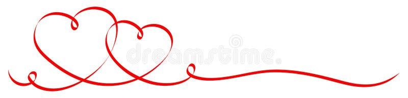 2 conectou a bandeira vermelha da fita dos corações da caligrafia ilustração royalty free