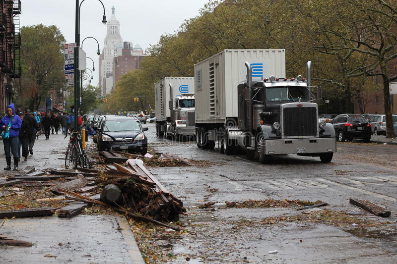 ConEdison Trucks lining NYC after Hurricane stock photo