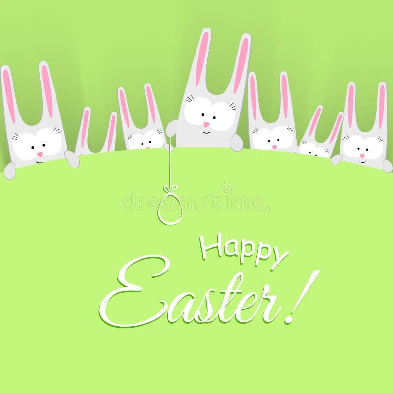 Conejito alegre de los conejos con el huevo en un texto feliz de Pascua del fondo verde un carácter de dibujo creativo del garaba stock de ilustración