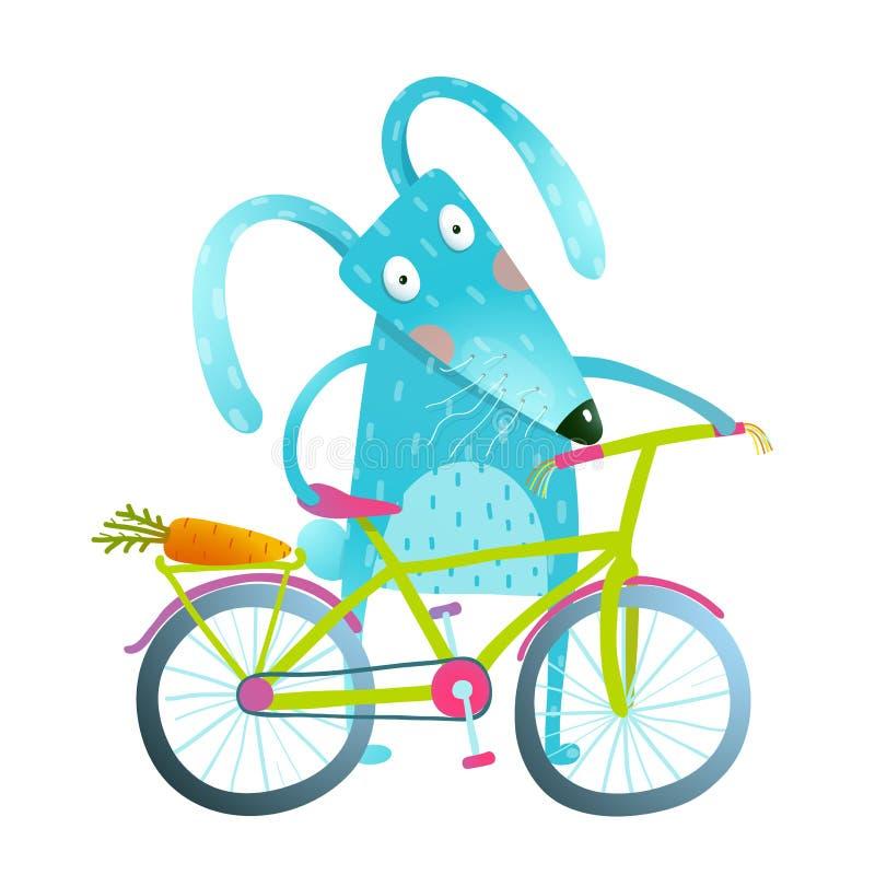 Conejito azul de la historieta con la bicicleta stock de ilustración