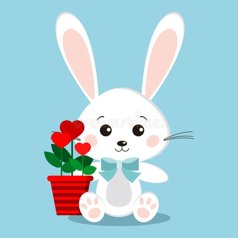 Conejito blanco lindo y dulce aislado del conejo en actitud que se sienta con la corbata de lazo azul, flores en forma del corazó ilustración del vector