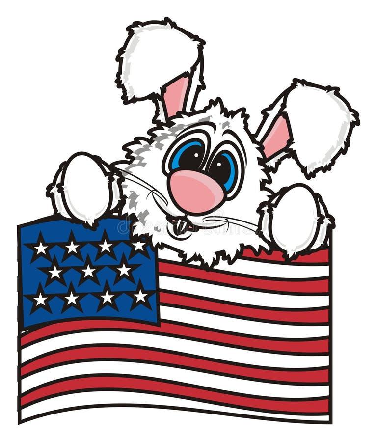 Conejito blanco que sostiene una bandera americana stock de ilustración