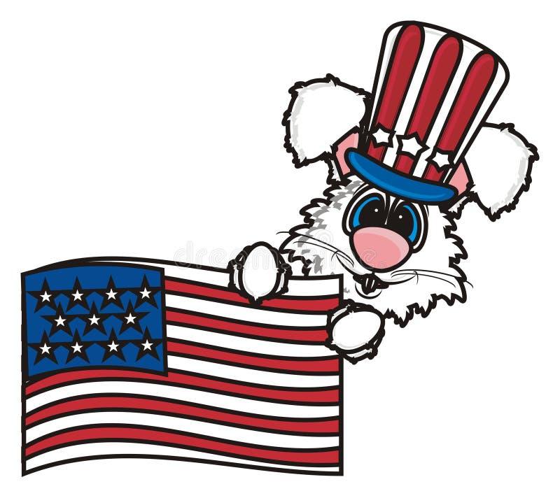 Conejito blanco que sostiene una bandera americana ilustración del vector