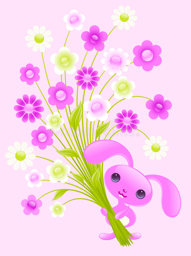 Conejito bonito con las flores. ilustración del vector