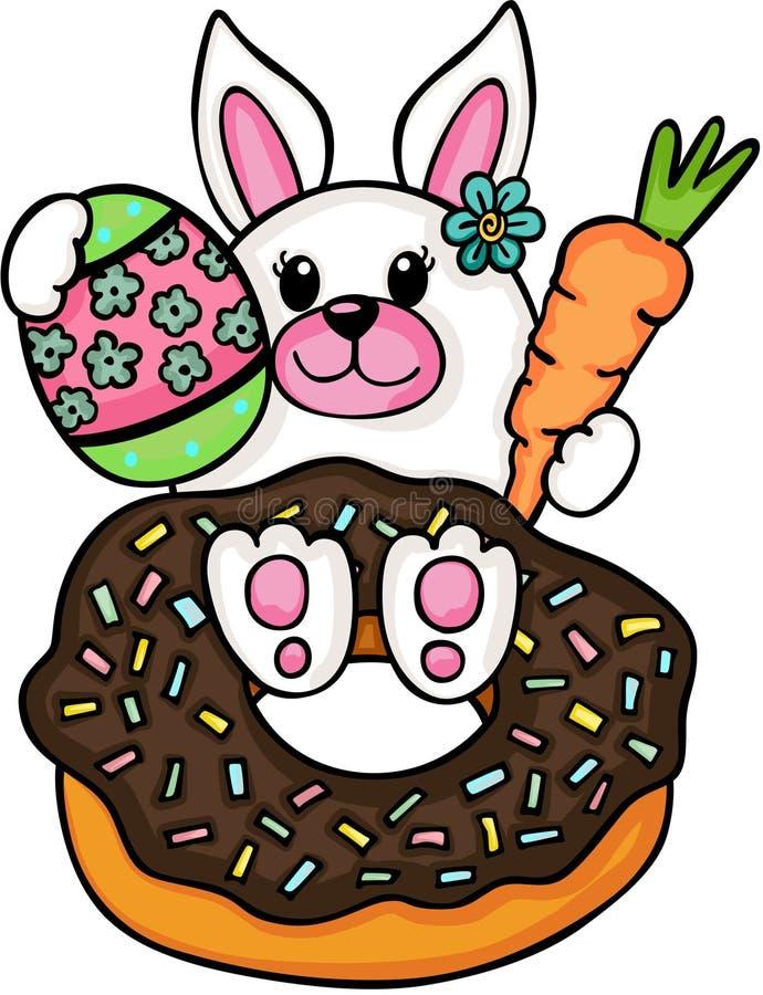 Conejito con el buñuelo y el huevo de Pascua ilustración del vector