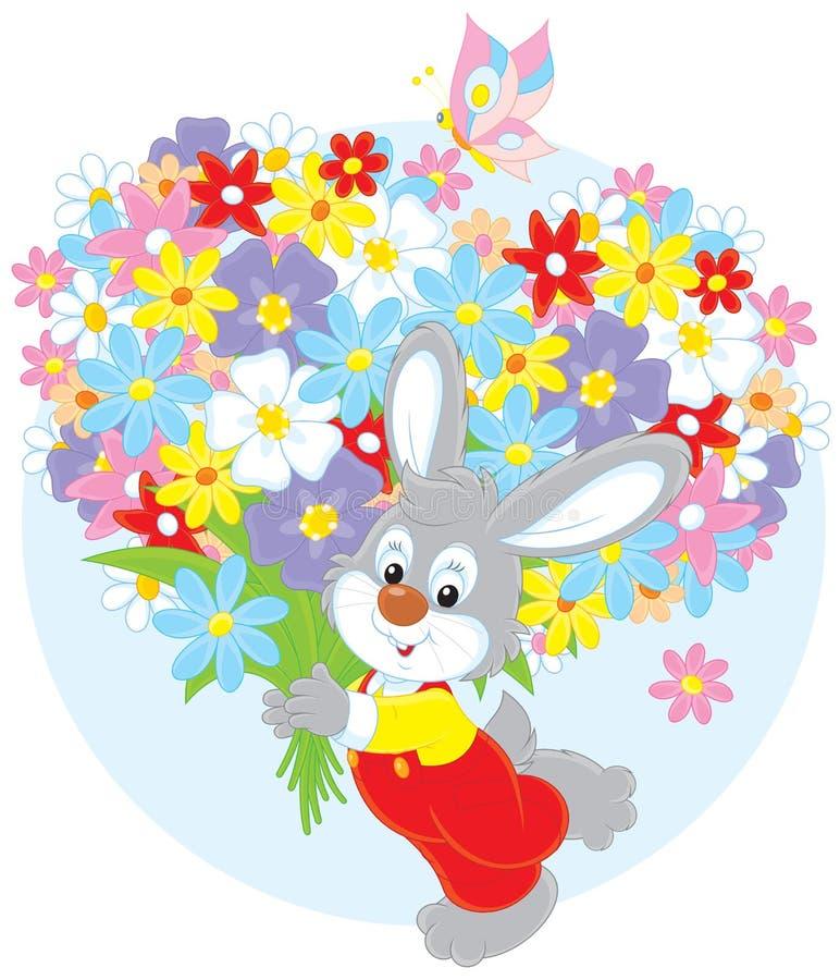 Conejito con las flores libre illustration