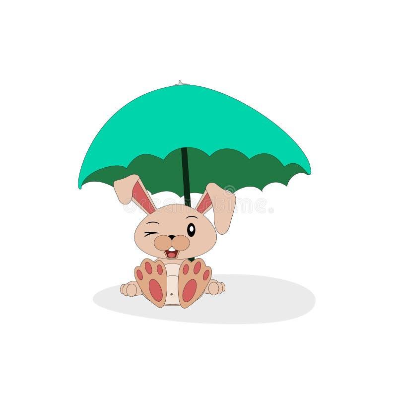 Conejito de la historieta con la sombrilla libre illustration
