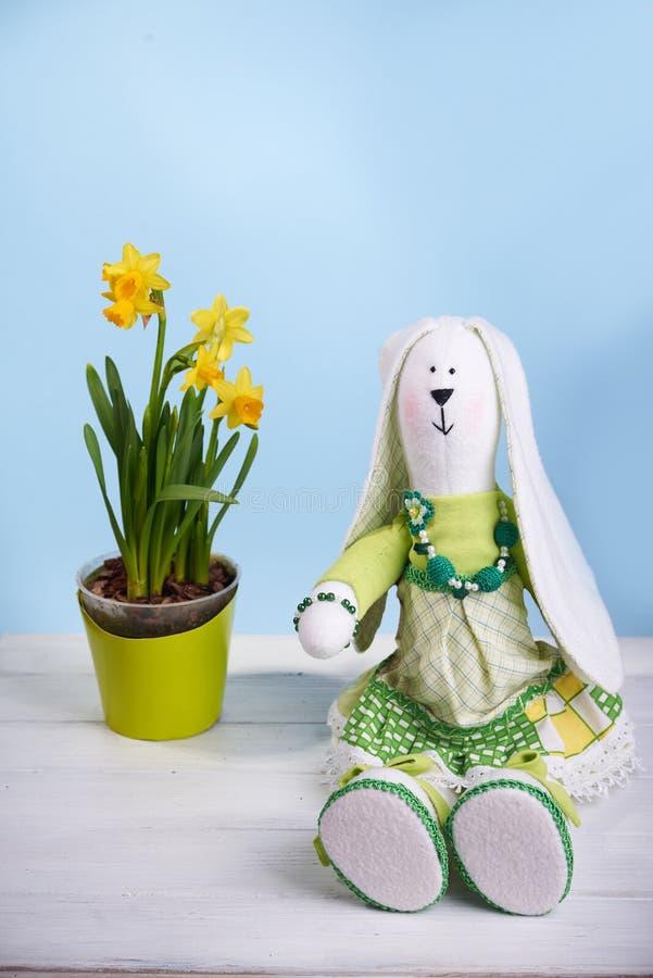 Conejito de la primavera de Tilda con el narciso fotografía de archivo libre de regalías