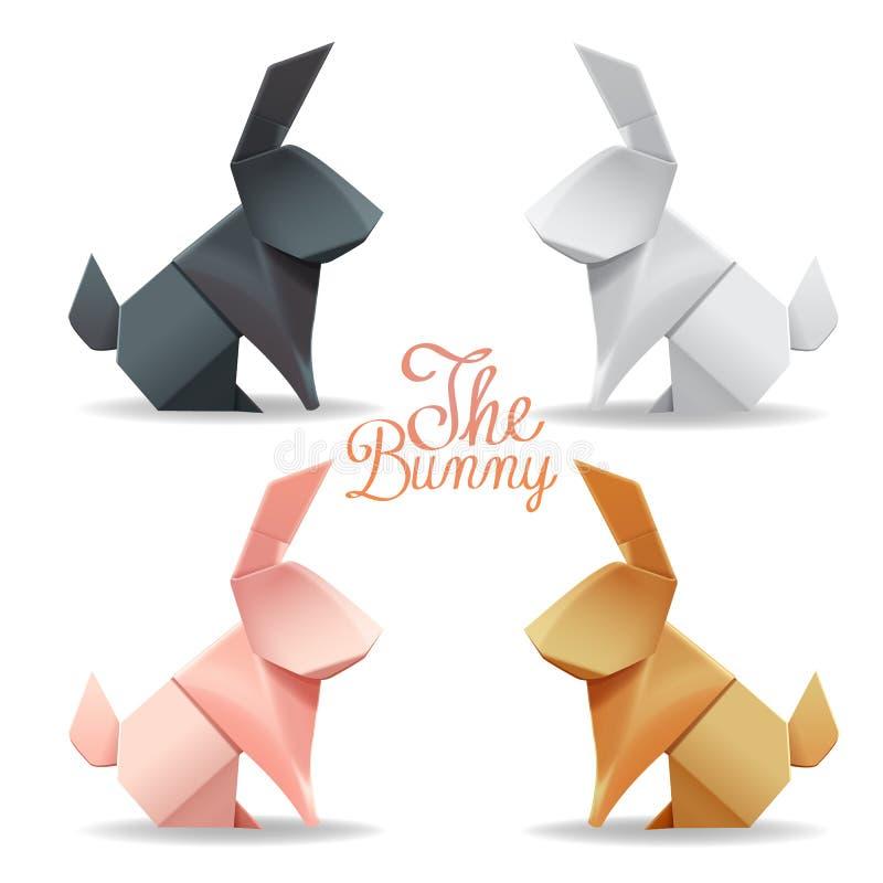Conejito de papel de la papiroflexia y decoración determinada del grupo del conejo libre illustration