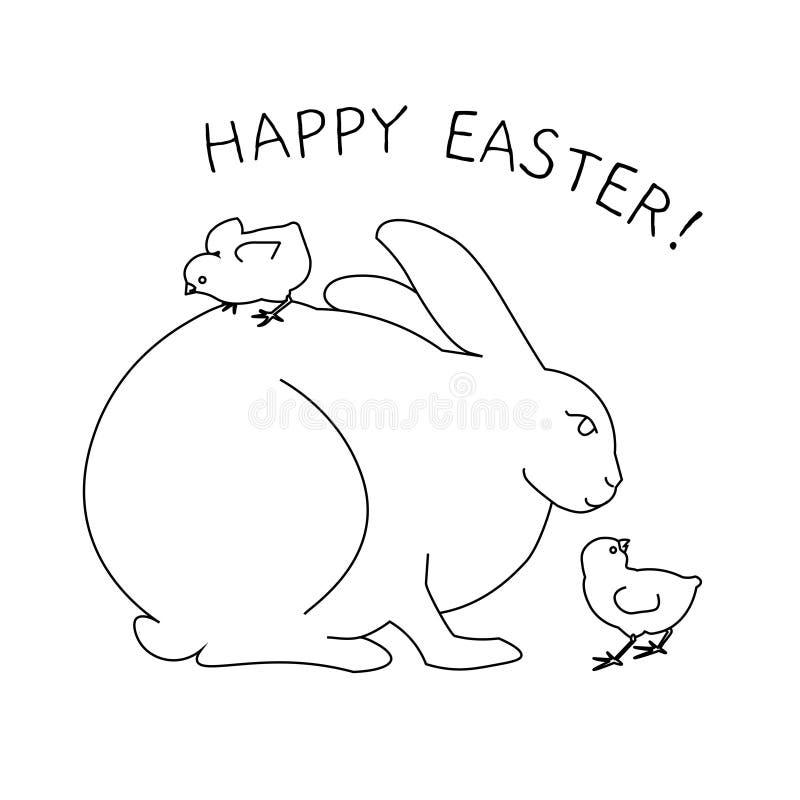 Conejito de pascua blanco con el huevo y los pequeños polluelos Página del libro de colorear para los adultos libre illustration