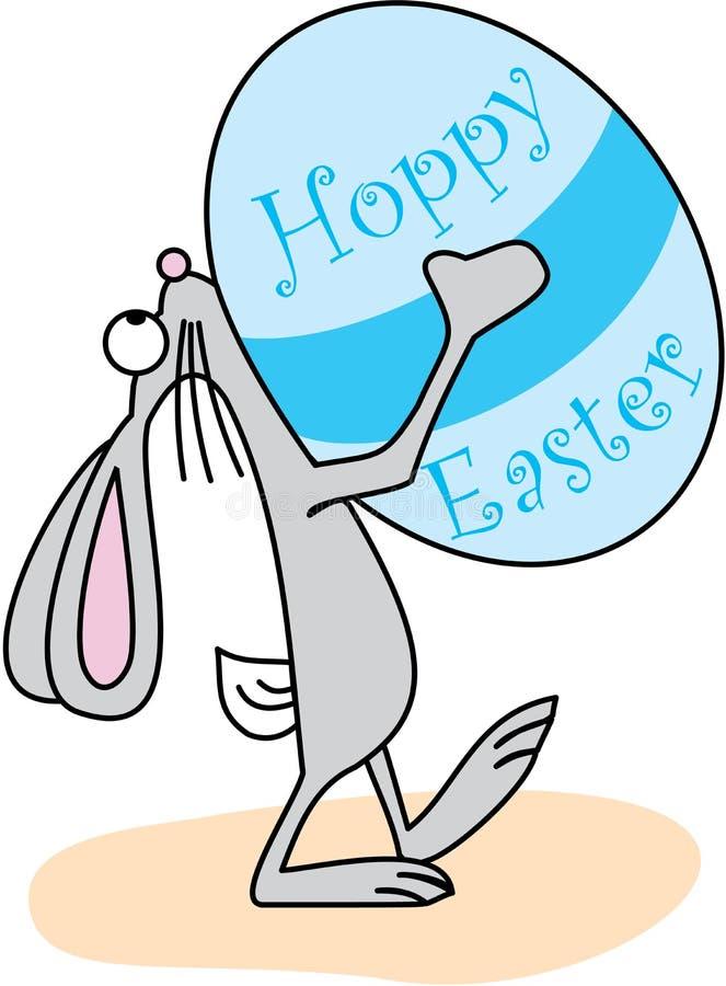 Conejito de pascua con el huevo de Pascua de lúpulo ilustración del vector