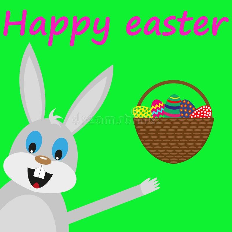 Conejito de pascua con la cesta de huevos ilustración del vector