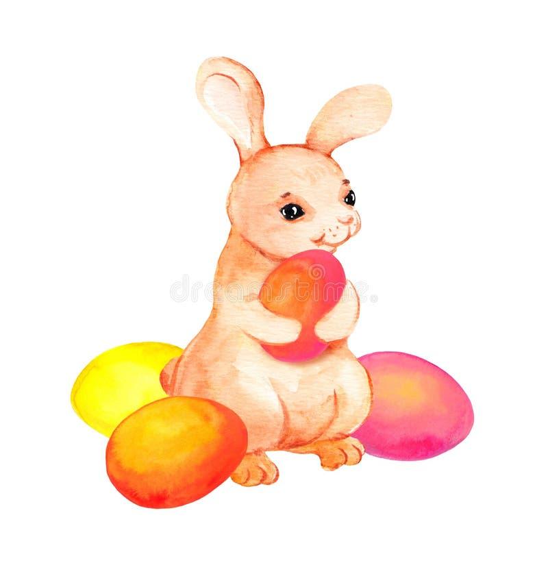 Conejito de pascua con los huevos coloreados watercolor stock de ilustración
