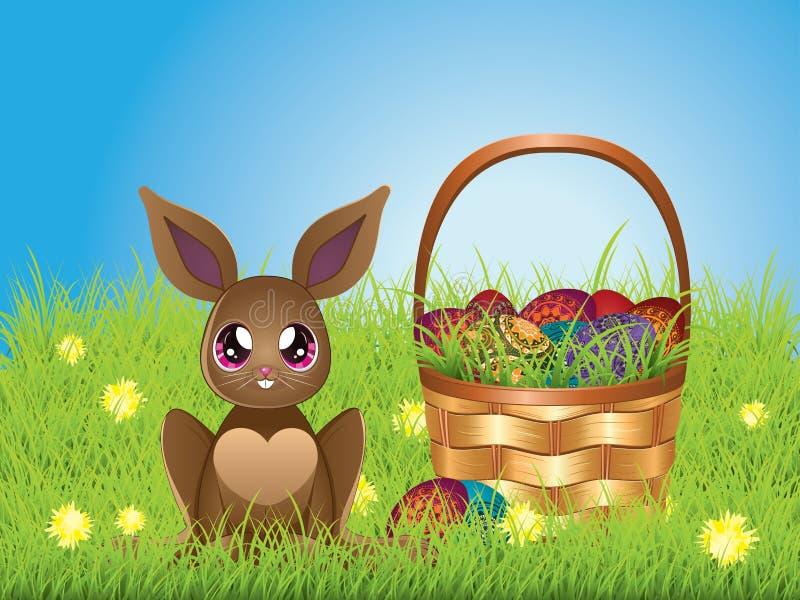 Conejito de pascua con los huevos en la cesta stock de ilustración