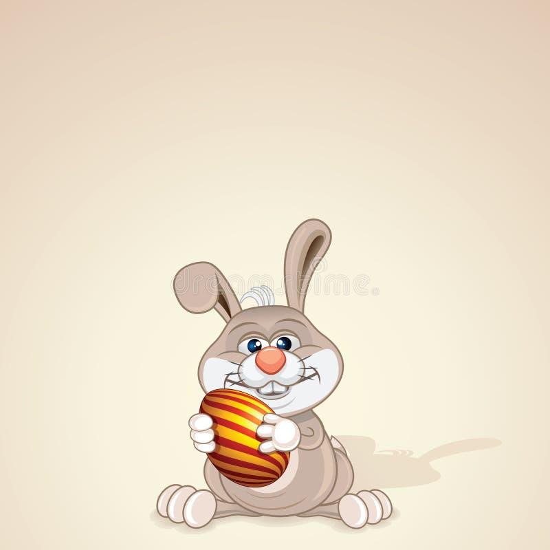 Conejito de pascua divertido con el huevo pintado Vector stock de ilustración