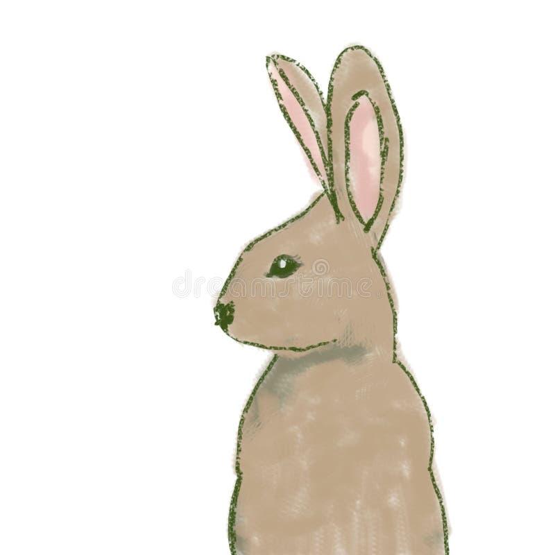 Conejito de pascua en cara lateral stock de ilustración