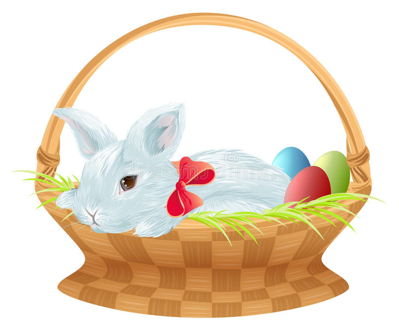 Conejito de pascua en cesta de mimbre El conejito de pascua lindo que se sienta en cesta con color eggs ilustración del vector