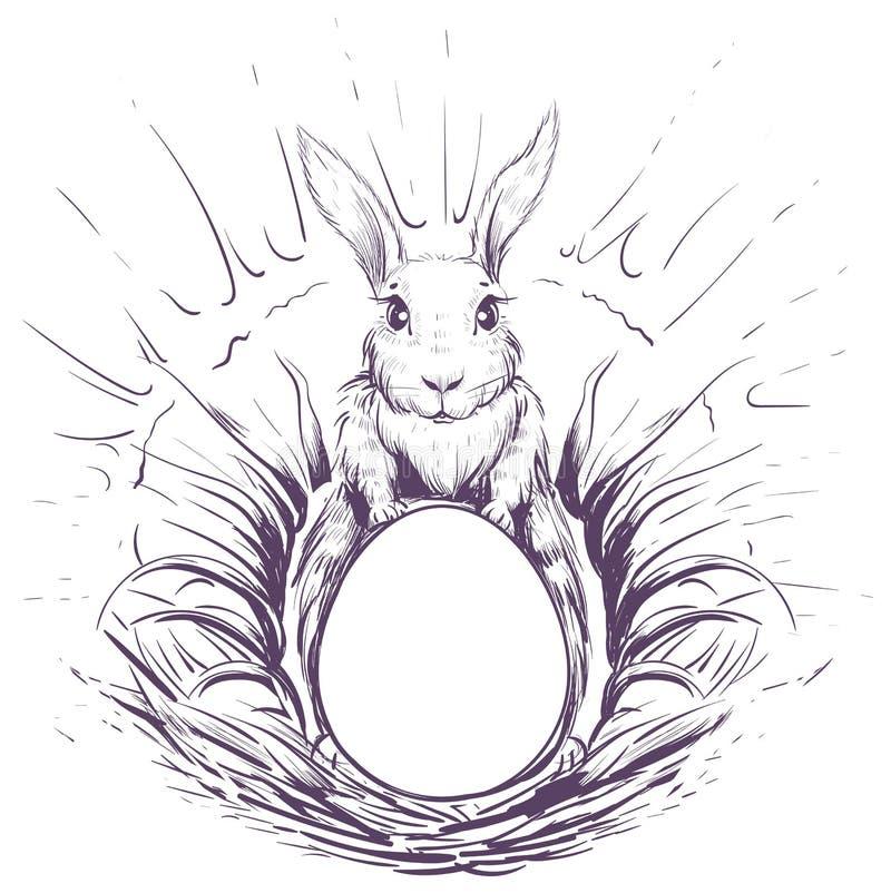 Conejito de pascua en la hierba para poner un huevo en jerarquía libre illustration