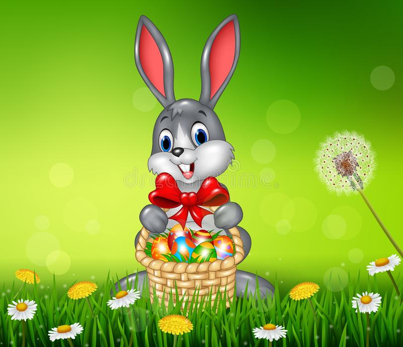 Conejito de pascua feliz con el huevo de Pascua en la cesta stock de ilustración