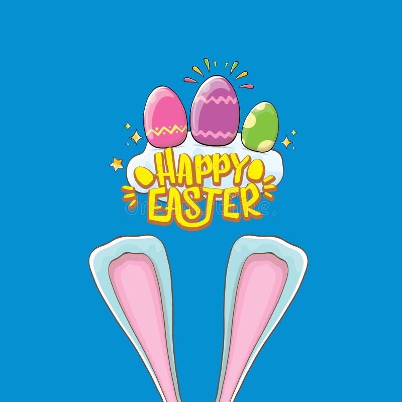Conejito de pascua feliz con el texto, las nubes, el arco iris caligráfico y los huevos de Pascua del color aislados en fondo azu libre illustration