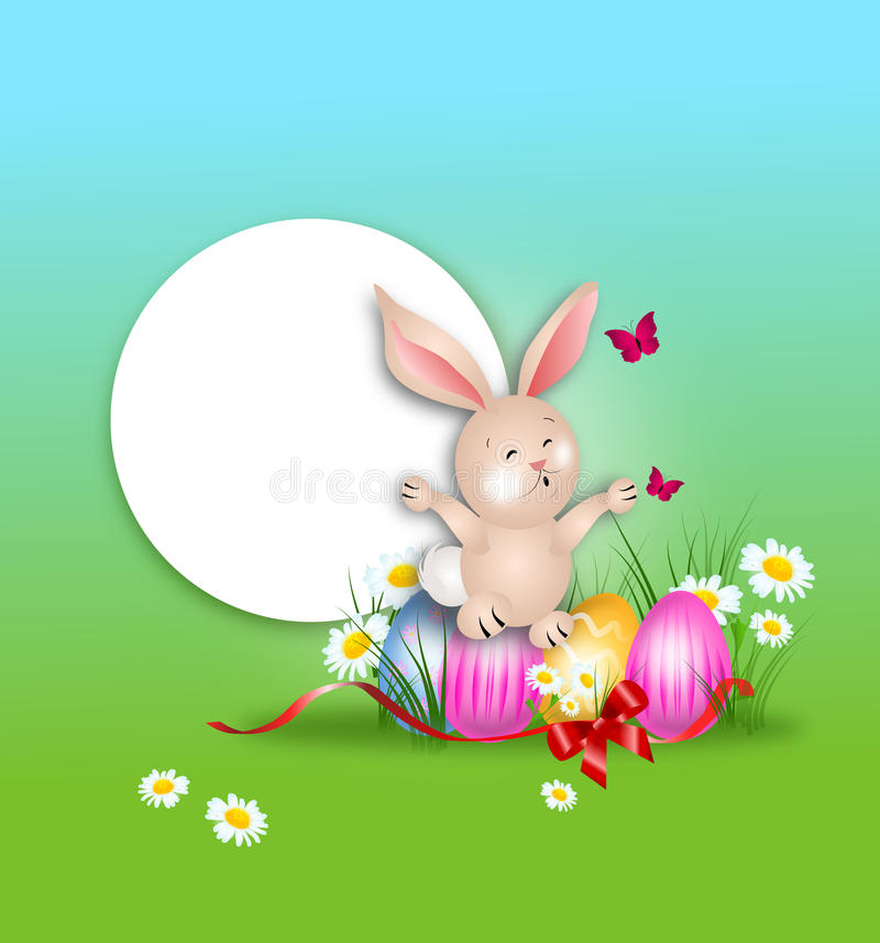 Conejito de pascua feliz que se sienta en tarjeta de felicitación de los huevos de Pascua libre illustration