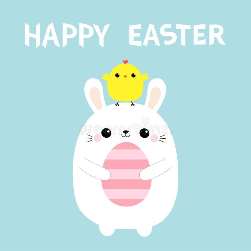 Conejito de pascua feliz que sostiene el huevo de pintura Pollo en la cabeza Amigos del pájaro del polluelo del bebé del conejo A stock de ilustración