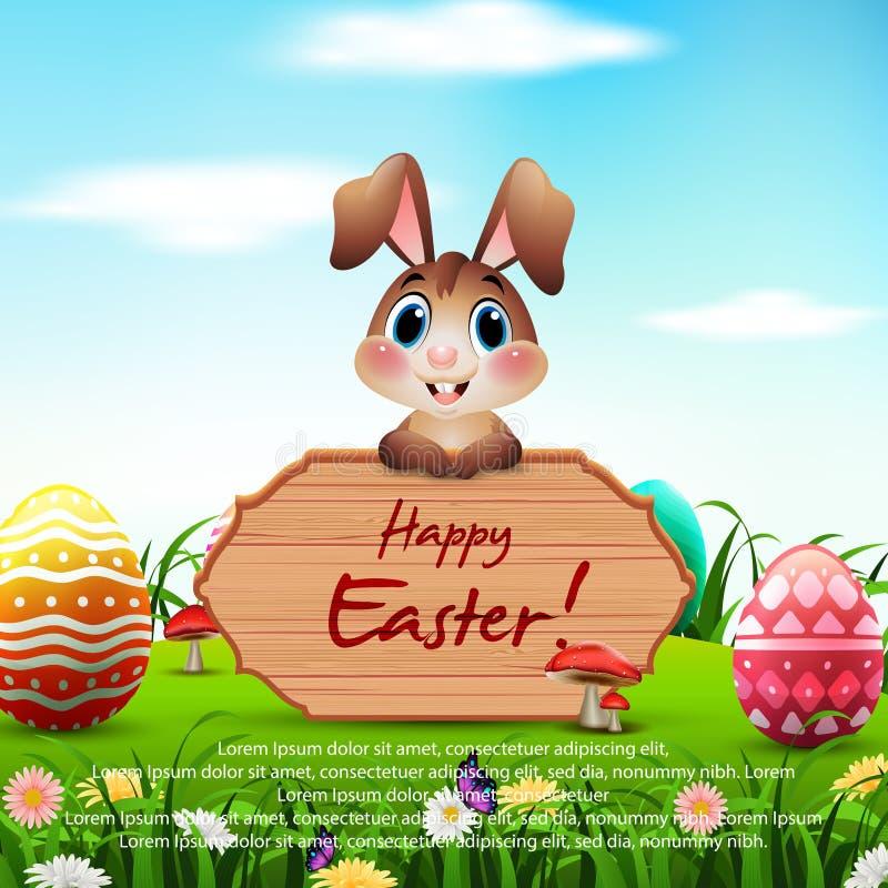 Conejito de pascua lindo con una muestra de madera y huevos coloridos en el jardín libre illustration