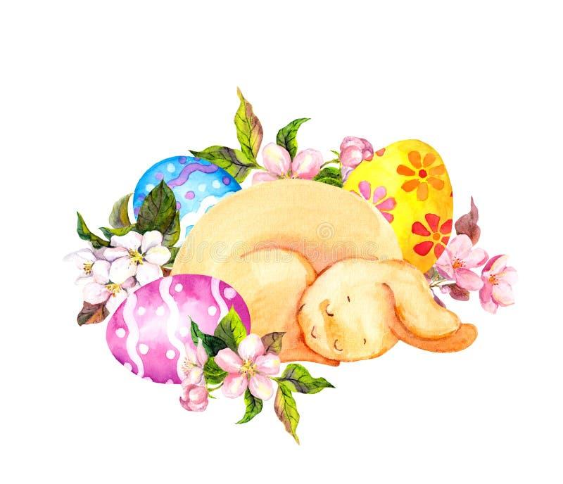 Conejito de pascua lindo, durmiendo en huevos coloreados, flores watercolor libre illustration