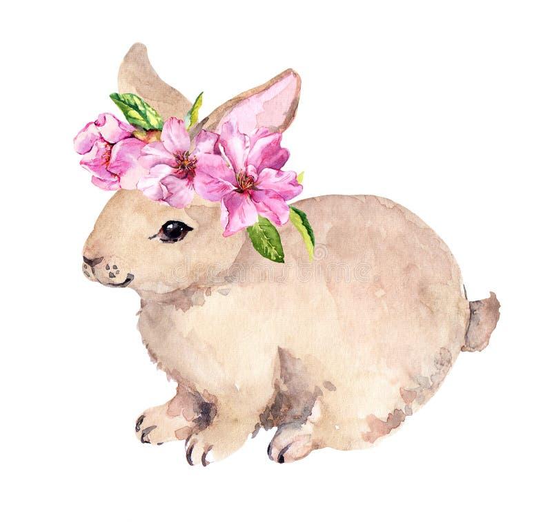 Conejito de pascua lindo, guirnalda floral con las flores rosadas de la primavera Acuarela con el conejo ilustración del vector