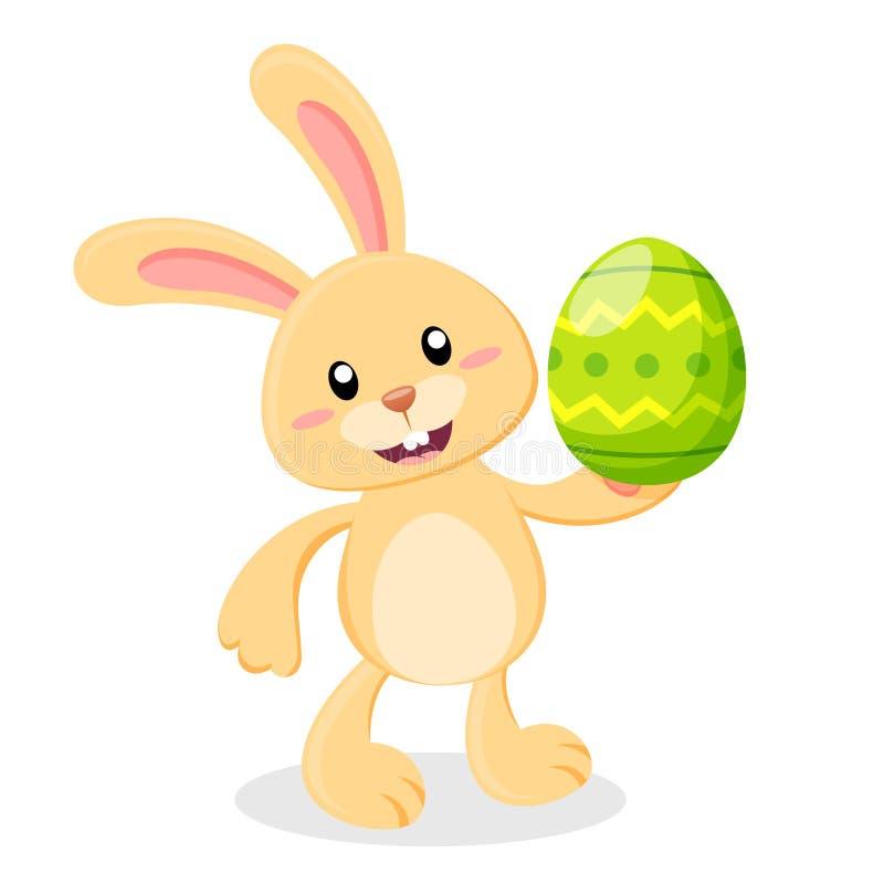 Conejito de pascua lindo de la historieta con el huevo de Pascua stock de ilustración