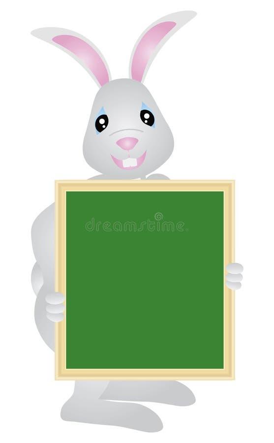 Conejito de pascua que celebra el ejemplo de la señalización ilustración del vector