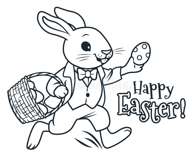 Conejito de pascua que corre con la cesta por completo de huevos de chocolate que colorean el ejemplo de la historieta del vector ilustración del vector