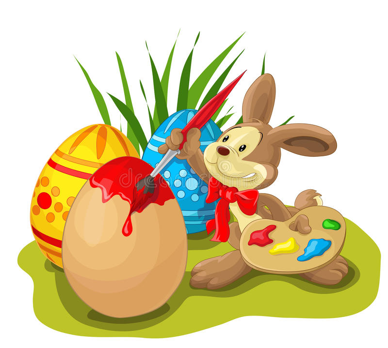 Conejito de pascua que pinta el huevo de Pascua libre illustration