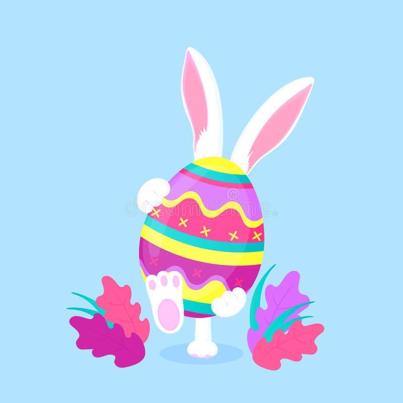 Conejito de pascua que sostiene un huevo pascual grande El conejo divertido camina en el césped stock de ilustración