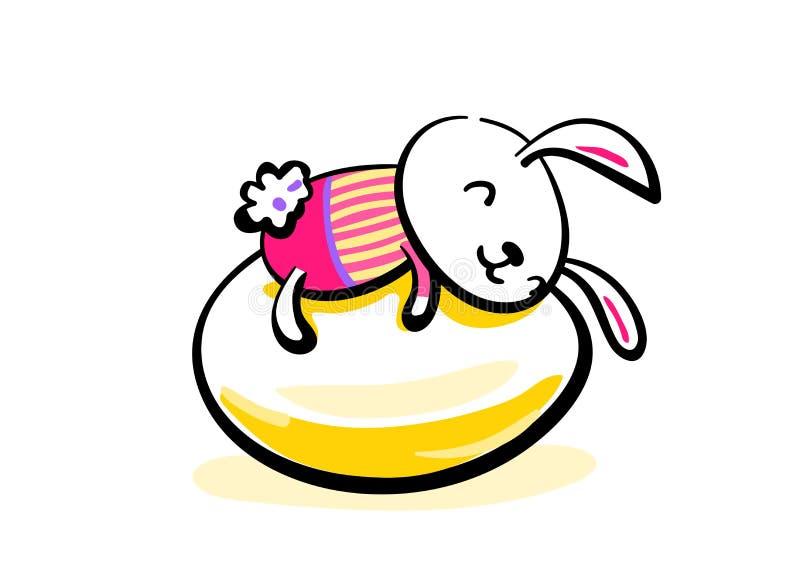 Conejito de pascua sonriente lindo que miente en el huevo Fondo feliz del saludo de Pascua Bosquejo de dibujo disponible del ejem libre illustration