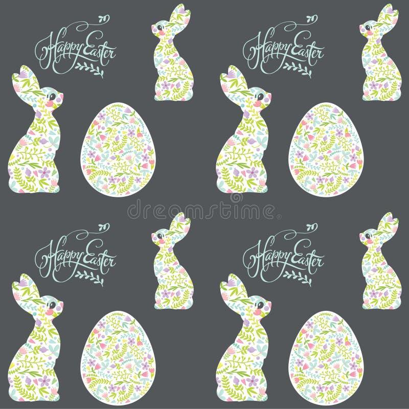 Conejito de pascua y modelo del día de fiesta del huevo fotos de archivo