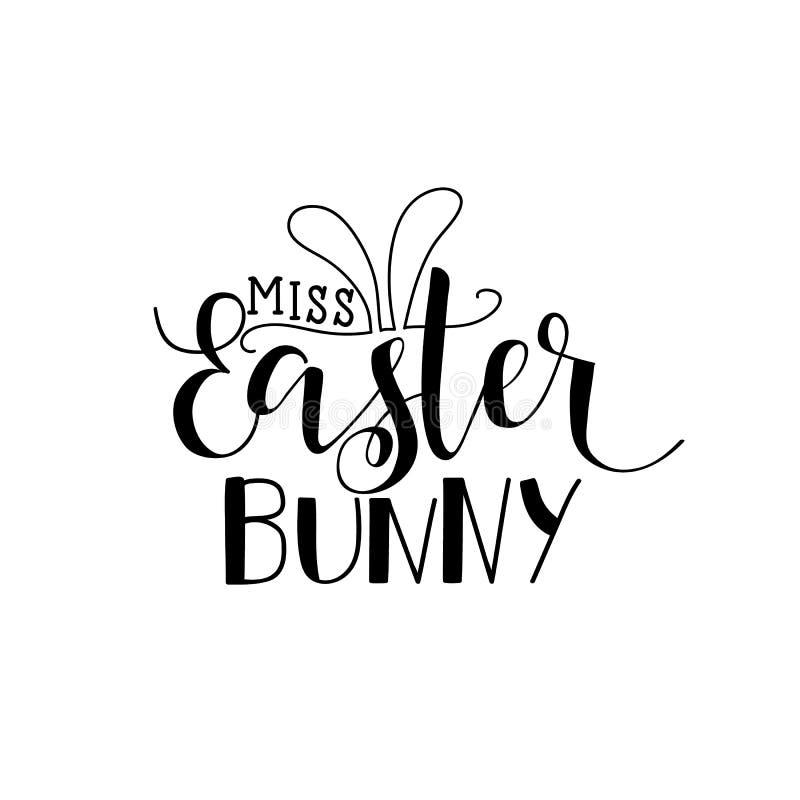 Conejito de Srta. Easter Tarjeta de letras Mano dibujada poniendo letras al cartel para Pascua Caligrafía moderna ilustración del vector