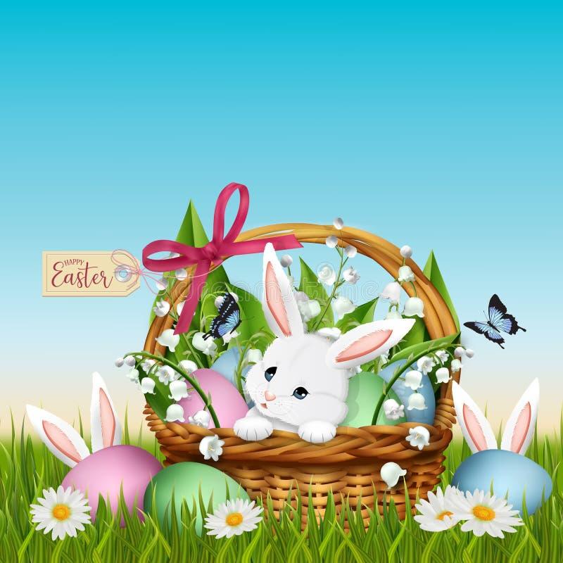 Conejito de tres pascua en hierba con la cesta de mimbre y los huevos coloridos ilustración del vector