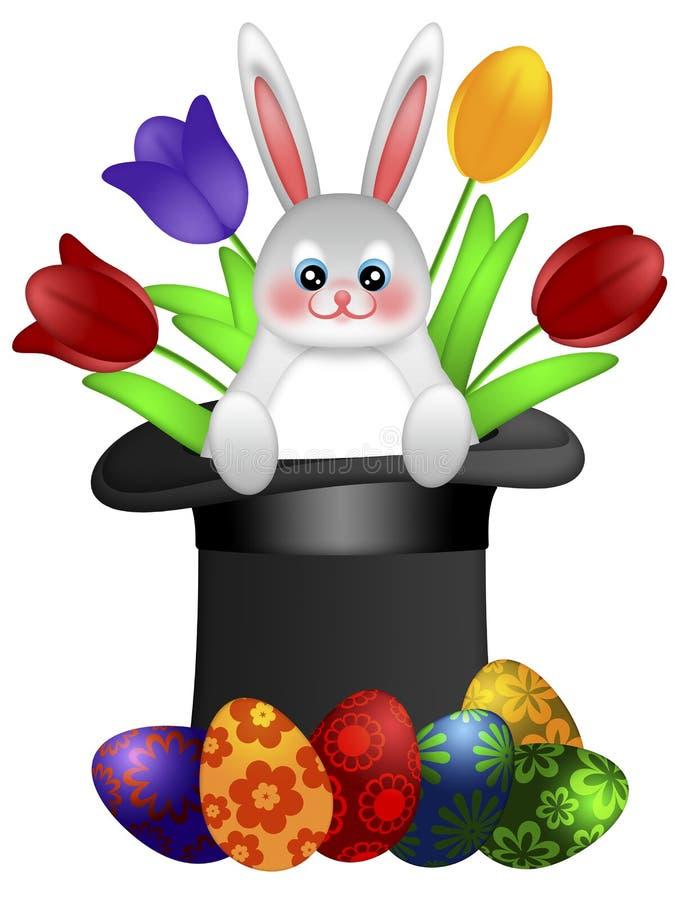 Conejito del día de Pascua en sombrero del mago libre illustration