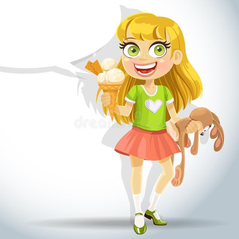 Conejito del juguete del asimiento de la niña y helado lindos libre illustration