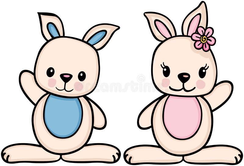 Conejito del niño pequeño y de la muchacha ilustración del vector