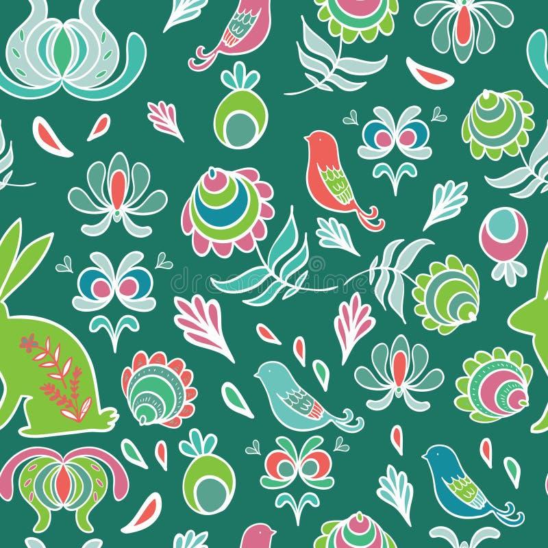 Conejito en el jardín de la primavera Modelo inconsútil del vector libre illustration