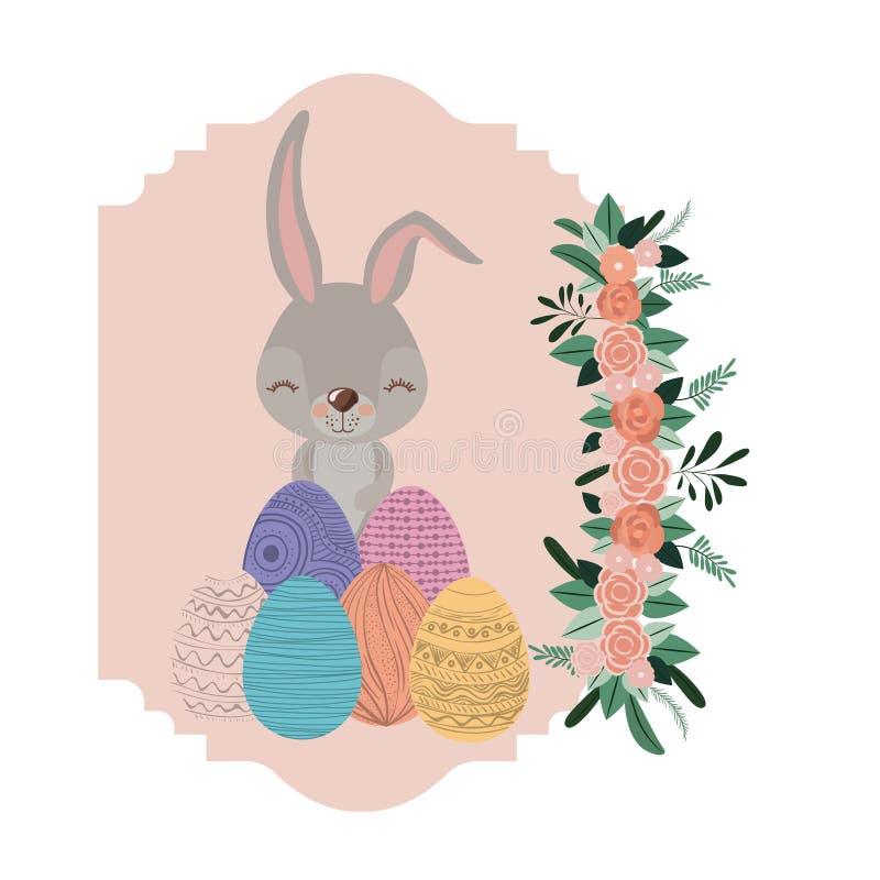 Conejito en marco con los huevos y el ornamento de Pascua florales en lado izquierdo en silueta colorida stock de ilustración