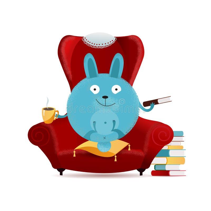 Conejito exhausto de la ronda de la fantasía de la mano que se sienta en butaca roja grande en la almohada y el libro de lectura  libre illustration