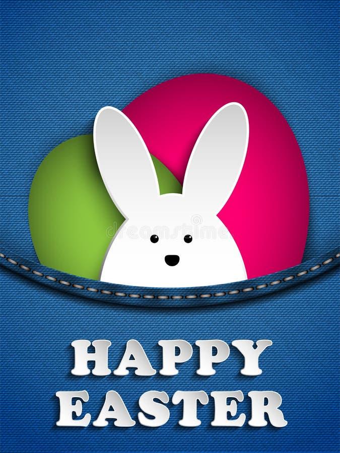 Conejito feliz del conejo de Pascua en bolsillo de los vaqueros ilustración del vector