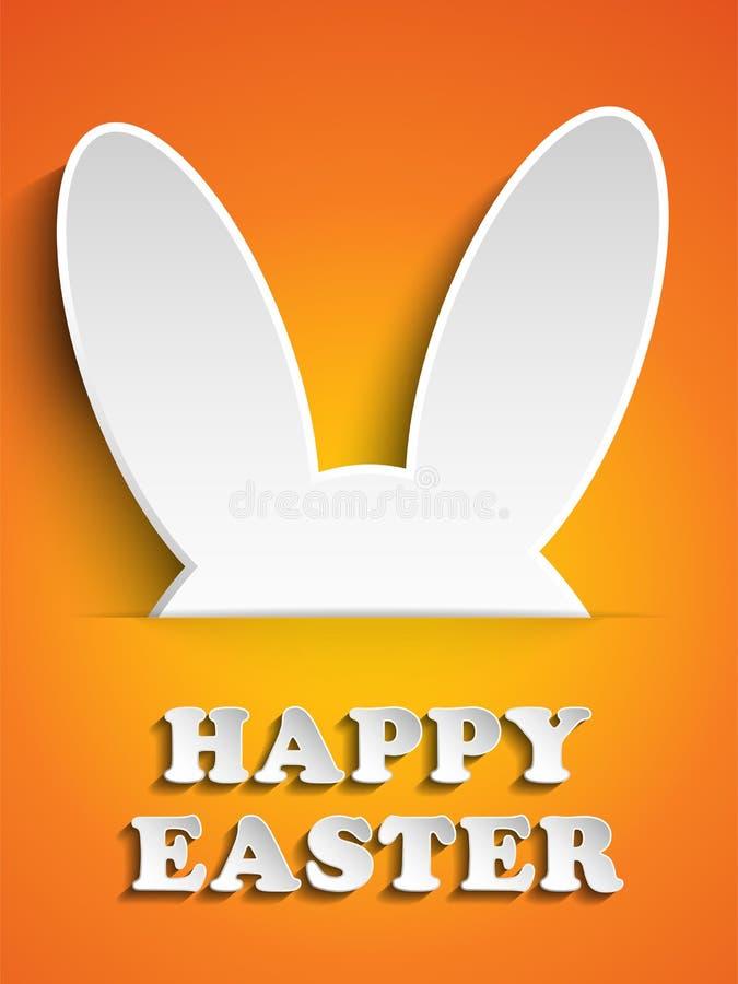 Conejito feliz del conejo de Pascua en fondo anaranjado libre illustration