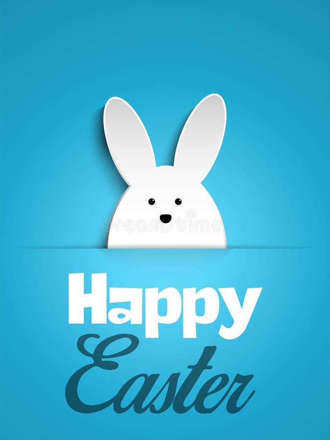 Conejito feliz del conejo de Pascua en fondo azul ilustración del vector