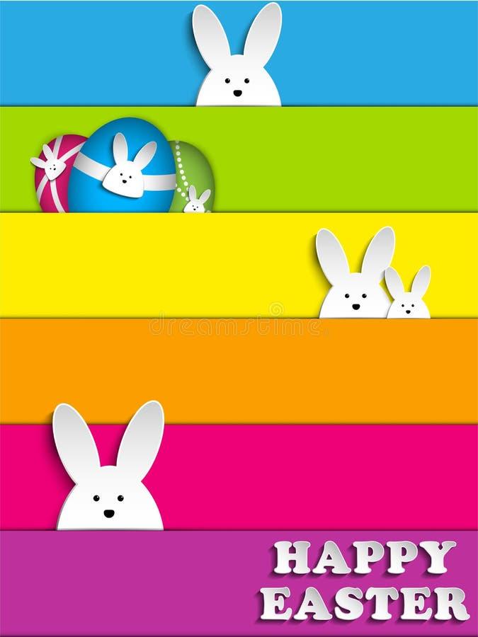 Conejito feliz del conejo de Pascua en fondo del arco iris stock de ilustración