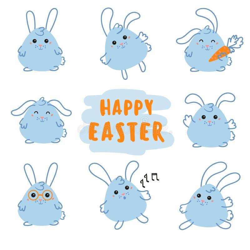 Conejito feliz del día de Pascua, conejo con la zanahoria ilustración del vector