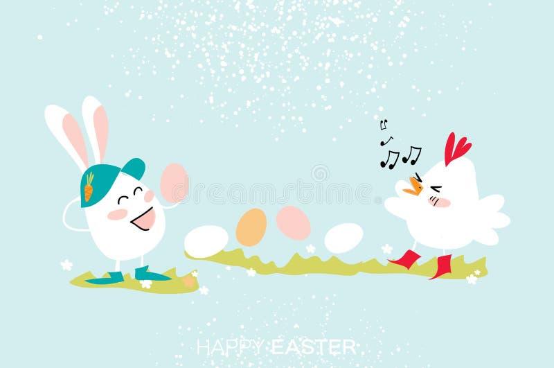 Conejito lindo Canto del polluelo Baile del huevo Pascua feliz stock de ilustración